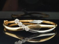Jewelry For Less Diamond Criss Cross Bangle 14k Yellow Gold Round Cut Prong Bracelet 0.50 Ctw.