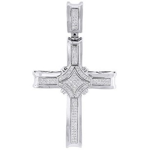 Jewelry For Less Diamond Cross Pendant 10k White Gold Mens Domed Round Cut Fashion Charm 0.50 Ct.