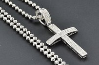 Jewelry For Less Diamond Cross Pendant 10k White Gold Pave Round Cut 0.70 Ct Domed Charm W Chain