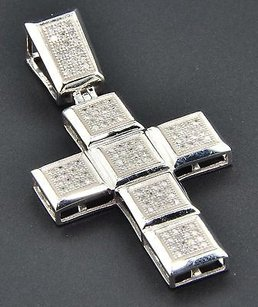 Jewelry For Less Diamond Cross Pendant Mens 10k White Gold Round Cut Pave Flat Charm 0.35 Ct.
