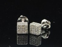 Diamond Cube Earrings 10k White Gold Round Cut Pave 3d Square Studs 0.40 Tcw.