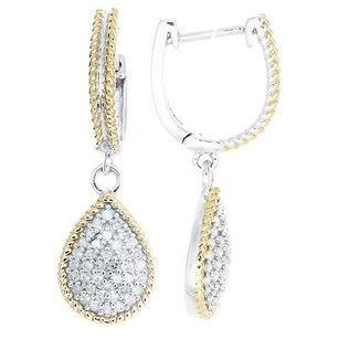 Jewelry For Less Diamond Dangle Drop Earrings Two Tone Sterling Silver White Finishing 0.60 Ct.