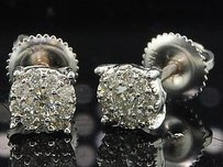 Jewelry For Less Diamond Earrings Ladies 14k White Gold Round Cut Circle Design Studs 0.35 Tcw.