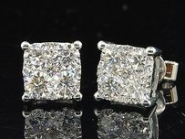 Jewelry For Less Diamond Earrings Ladies 18k White Gold Round Cut Square Design Studs 1.55 Tcw.