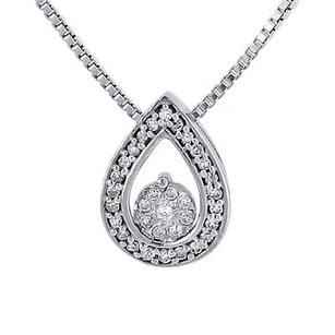 Jewelry For Less Diamond Flower Teardrop Pendant 10k White Gold Charm Necklace With Chain .12 Tcw