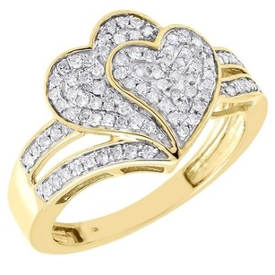 Diamond Heart Cocktail Ring 10k Yellow Gold Round Pave Fashion Band 13 Tcw.