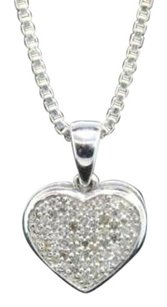 Other Diamond Heart Pendant 10k White Gold 0.20 Ct Pave Love Charm With Chain