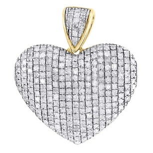 Jewelry For Less Diamond Heart Pendant Ladies 10k Yellow Gold Domed Love Round Cut Charm 0.80 Tcw