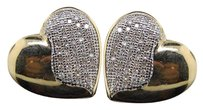 Diamond Heart Studs Ladies 10k Yellow Gold Round Pave Love Earrings 14 Tcw.