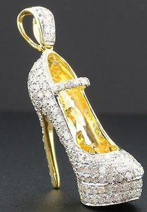 Jewelry For Less Diamond High Heel Shoe Pendant 3d Ladies 10k Yellow Gold 1.55 Ct. Charm 1.25