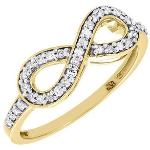 Diamond Infinity Fashion Cocktail Ring Ladies Round Cut 10k Yellow Gold 0.20 Ct.
