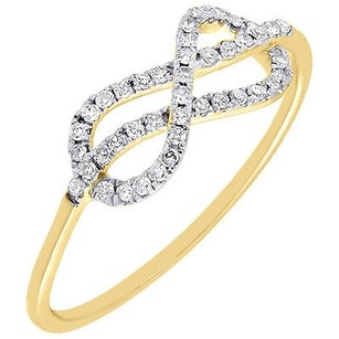 Diamond Infinity Fashion Right Hand Cocktail Ring Ladies 10k Yellow Gold .17 Ct.