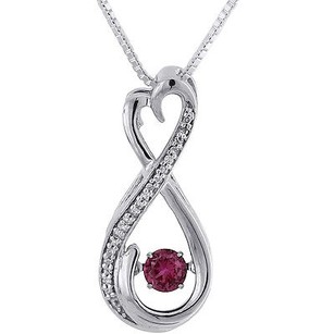 Jewelry For Less Diamond Infinity Pendant Dancing Created Ruby White Gold Heart W Chain 0.34 Tcw