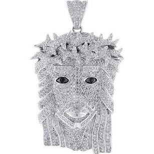 Jewelry For Less Diamond Jesus Face Piece Pendant High End 10k White Gold Head Charm 6.65 Ct.