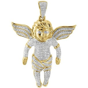 Jewelry For Less Diamond Mini 3d Angel Piece Pendant Fully Iced 10k Yellow Gold Charm 0.86 Ct.