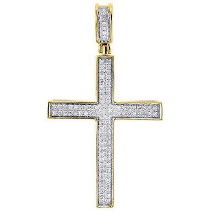 Jewelry For Less Diamond Mini Cross Pendant 10k Yellow Gold 0.33 Ct. Pave Concave Charm 1.62
