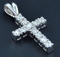 Jewelry For Less Diamond Mini Cross Pendant Solitaire Round Cut 14k White Gold Real Charm 12 Ct.