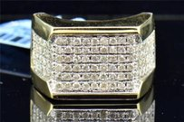 Jewelry For Less Diamond Pinky Ring Square Round Cut Mens 10k Yellow Gold 1.53 Ct.