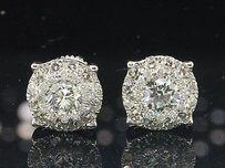 Jewelry For Less Diamond Solitaire Earrings 14k White Gold Round Cut Design Studs 1.38 Tcw.