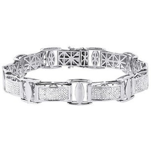 Jewelry For Less Diamond Statement Bracelet White Gold 8.5 Round Cut Pave Links Bangle 1.65 Ct.