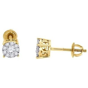 Jewelry For Less Diamond Stud Earrings 14k Yellow Gold Mens Ladies Round Solitaire Look 0.29 Ct.