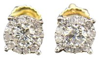 Diamond Stud Earrings Mens Ladies 14k Yellow Gold Round Cut 6mm Solitaire .53 Ct
