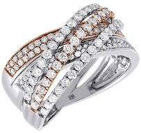 Other Diamond Wedding Band 14k Two Tone Gold Round Fashion Cocktail Ring 1.33 Ct.