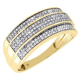 Jewelry For Less Diamond Wedding Band Mens 10k Yellow Gold Row Round Cut Pave Ring 0.36 Tcw.