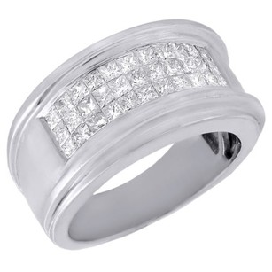 Jewelry For Less Diamond Wedding Band Mens 14k White Gold Princess Cut Invisible Set Ring Ct