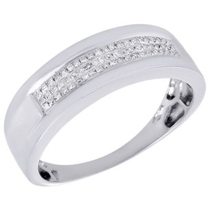 Jewelry For Less Diamond Wedding Ring Mens .925 Sterling Silver 7mm Round Cut Pave Band 0.15 Ct.