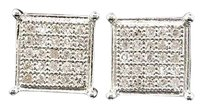 Diamond,Square,Earrings,.925,White,Gold,Finish,Round,Pave,Studs,0.15,Tcw.