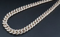 Jewelry For Less Genuine Diamond Miami Cuban Chain 5.75 Ct. 10k Rose Gold 7.62mm Inch Necklace