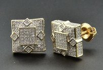 Jewelry For Less Genuine Diamond Studs 3d Square Shape Unisex 10k Yellow Gold Earrings 0.55 Ct.