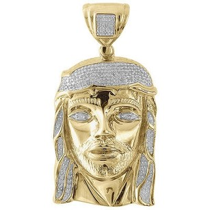 Jewelry For Less Genuine Pave Diamond Jesus Piece Charm 10k Yellow Gold 1.71 Pendant 0.25 Ct.