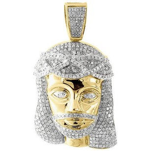 Jewelry For Less Genuine Pave Diamond Jesus Piece Charm 10k Yellow Gold 2.06 Pendant 2.55 Ct.