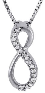Infinity Diamond Pendant 10k White Gold Fashion Round Charm W Chain 0.10 Ct.