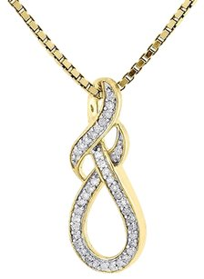 Infinity Knot Diamond Pendant Yellow Gold Round Charm With Necklace 0.20 Ct.