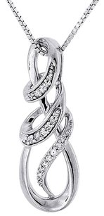 Other Infinity Loop Design Diamond Pendant White Gold Charm With Necklace 0.10 Ct.
