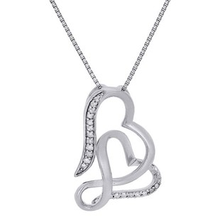 Other Intertwine Tilted Double Heart Diamond Pendant Sterling Silver Charm 120 Ct.