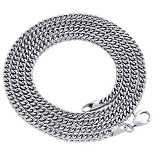 Jewelry For Less Real 10k White Gold 3d Hollow Franco Box Link Chain 3mm Necklace 22-40 Inches