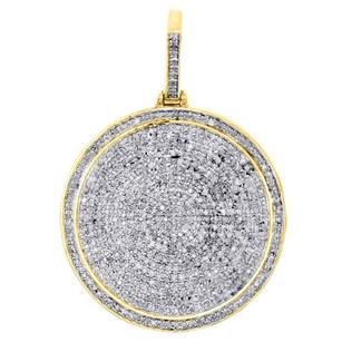 Jewelry For Less 10k Yellow Gold Genuine Round Diamond Medallion Pendant 1.60 Pave Charm 1.25 Ct