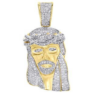 .925 Sterling Silver Diamond Jesus Face Piece Pendant 1.60 Mens Pave Charm 1 Ct