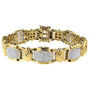 Jewelry For Less Diamond Statement Bracelet Mens Yellow Gold 8.5 Pave Link Round Cut 2.15 Ct.