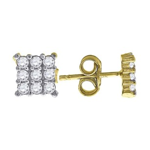 Jewelry For Less 10k Yellow Gold Three Row Square Cz 0.26 Stud Push Back Earrings