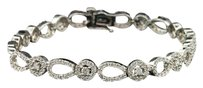 Ladies 14k White Gold 2.98 Ct. Diamond Round Halo Link Bracelet 7.25