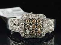 Jewelry For Less Ladies 10k White Gold Brown Champagne Diamond Engagement Ring Halo Bridal Set