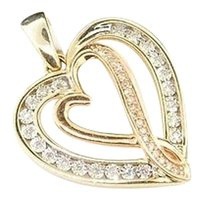 Ladies 10k Yellow Gold Love Heart Diamond Pendant Charm For Necklace .12 Ct.