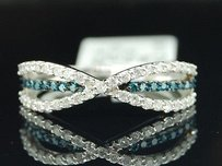 Jewelry For Less Ladies .49ct White Gold Blue Diamond Cocktail Band Ring