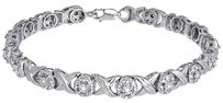 Other Ladies Round Diamond Xo Design Kisses Hugs Link 7 Bracelet White Gold .60 Ct.