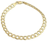 Mens,Or,Ladies,10k,Yellow,Gold,Flat,Cuban,Curb,6.50,Mm,Link,Bracelet,8-10,Inches